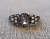 "Antique Diamond Black Rhodium Rutilated Quartz Engagement Ring White Gold 1920s Grey Gemstone Rustic Bohemian PenelliBelle ""The Florence"""