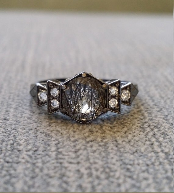 Antique diamond black rhodium rutilated quartz engagement ring for Quartz wedding rings