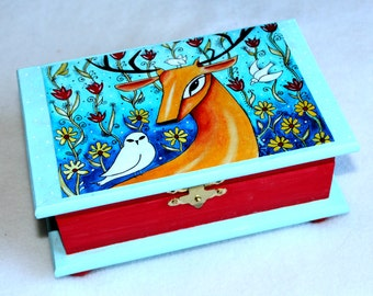 Large Deer Jewelry Box, Deer and Birds Wood Box, Whimsical Art Box, Decoupage, Red and Turquoise Blue with Brass Clasp