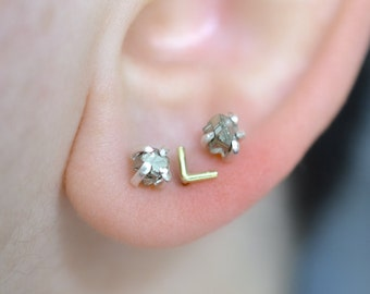 RAW  No.10 - pyrite stud earrings with sterling silver posts