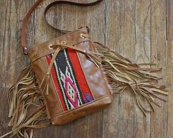 SALE Leather Fringe Bag. Leather Boho Bag. Kilim Bag. Brown Leather Bucket Bag.