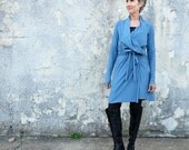 STRETCHY Belted Cocoon Tunic Jacket - ( Stretchy organic cotton knit with lycra ) - organic jacket