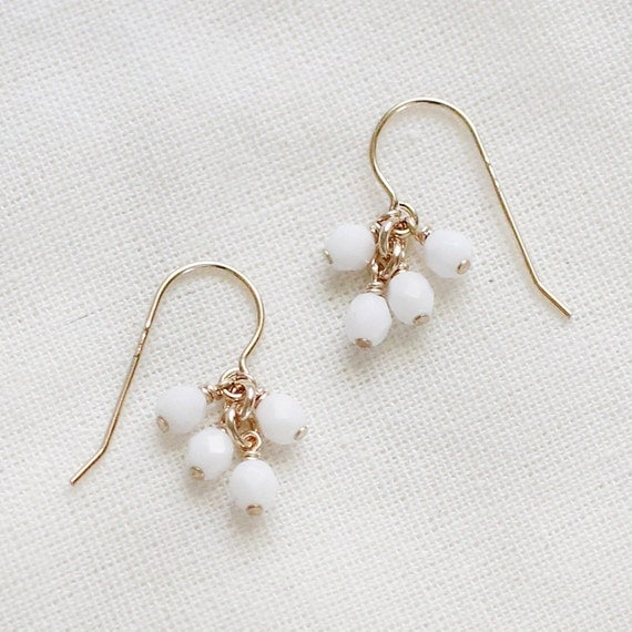 lucky in white - faceted gold earrings