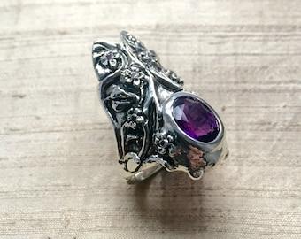 Amethyst Flower Cicada Ring in Sterling Silver
