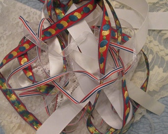 Assorted Trims For Sewing/ Crafting - Lace and Ribbon/ White and Red