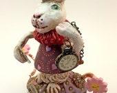 Sculpey figurine nicnac polymer clay / Alice in Wonderland Rabbit / Queen of Hearts / Watch / Comes with a free journal / Original sculpture