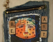Saucy Sassy Totally Distressed Be Your Art Mixed Media OOAK Necklace Pocket Polymer Clay Scrabble Tiles Upcycled Repurposed Free Shipping