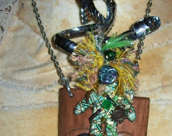 Tribal Art Necklace Amulet Voodoo Shaman Wiccan Mystical Fierce Found Objects Mixed Media African Passport Style Altered Art Original OOAK