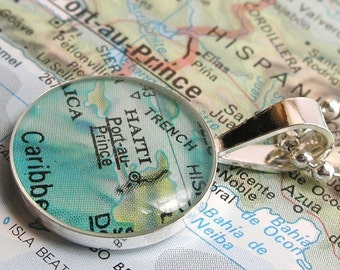 Vintage Map Sterling Silver Round Necklace.  Port-au-Prince Haiti.
