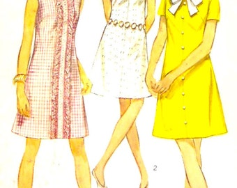 60s mod dress vintage A line plus size shift sewing pattern Simplicity 8189 Bust 40 Retro style womens fashion