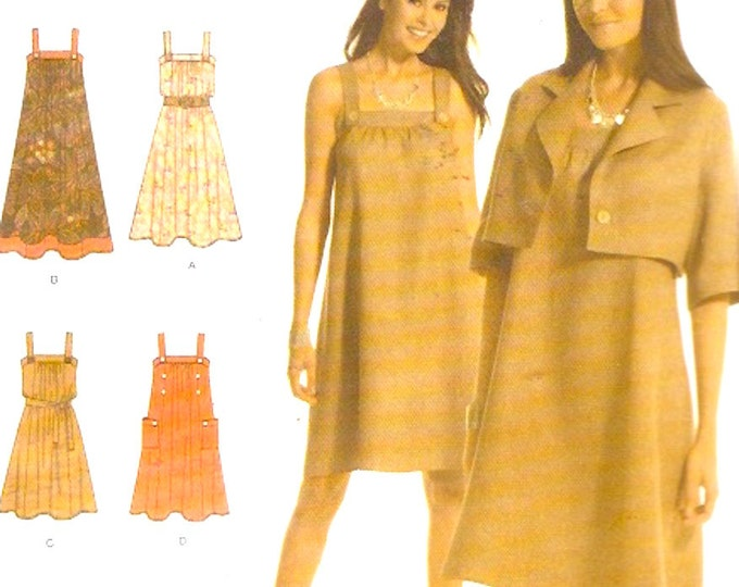 Dress jumper jacket tie belt sewing pattern includes plus size Simplicity 3738 Sz 14 to 22 Uncut Spring summer fashion