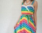 Vintage Rainbow Striped Sun Dress (Size Medium/Large)
