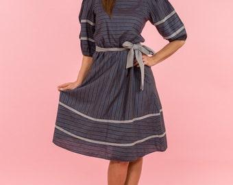 Vintage Blue And Grey Striped Folk Dress (Size Medium/Large)