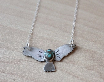 Sterling Soaring Eagle Turquoise Necklace