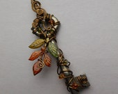 Changing Leaves Key Pendant -- Wire Wrapped Key, Green, Yellow, Red-Orange Autumn Leaves, Brass Wire, Crystals - by Silver Owl Creations