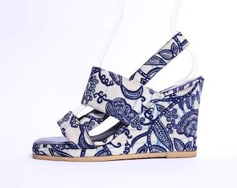 70s Batik Wedge Sandals 7