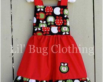 Back To School Fall Girl Dress, Back To School Girl Outfit, Back To School Apple Dress, Back To School Girl Clothes, Fall Girl Dress
