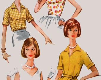 1960s Mod Set of Summer time Blouses Peplum Low V neckline McCalls 5833 60s Vintage Sewing Pattern Size 154 Bust 34 UNCUT