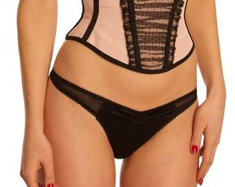 SALE size Small black Laurel silk thong- handmade silk panties thongs, mesh silk with bows, sheer knickers luxury lingerie panty