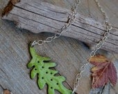 Bitter Green Torch Fired Leaf Necklace