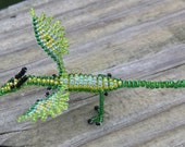 Spring Green Beaded Dragon Miniature Sculpture