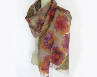 Felted Scarf Shawl Cobweb Merino Wool Silk Floral Flower Hand Felted Green Beige Floral Rose Scarlet Pink