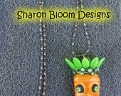 Ceramic Handmade Carrot Necklace by Sharon Bloom Designs