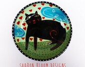 Ceramic Black Cat Hearts Bowl Love is in the Air Valentine's Day by Sharon Bloom