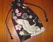 Japanese Cranes & Cherry Blossoms Design Tiny Tote Pouch Purse Organizer