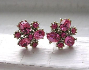 Vintage Pink Rhinestone Silver Plated Screw Back Earrings Screwbacks Pink Cluster Earrings