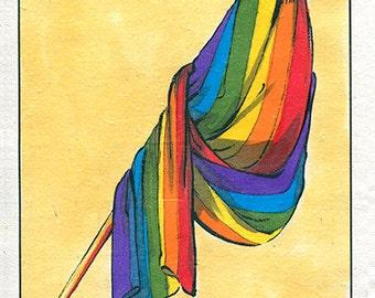 La Bandera LGBT Pride Rainbow Flag Gay Mexico Queer Loteria Mexican Art Felix dEon - LARGE Print