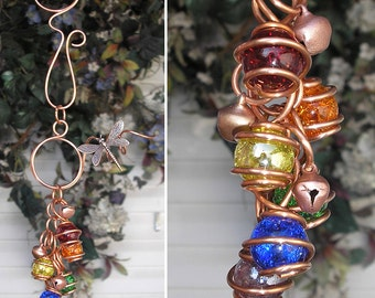 Rainbow Dragonfly/Butterfly Copper Glass Wind Chimes / Gypsy Windchime Garden Art Suncatcher