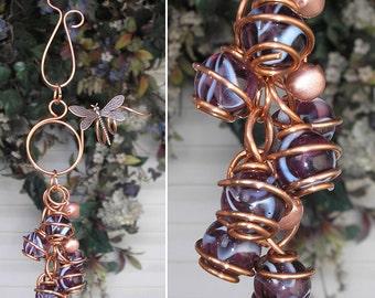 Dragonfly/Butterfly Wind Chimes - Copper & Glass - Garden Sculpture / Gypsy Window Art Suncatcher Lawn Pond Outdoor Yard Violet