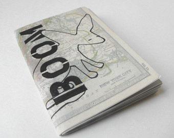 Handmade Mini Notebook / Maximus / Hand Stenciled Small Journal Notepad / Eco Friendly Luluanne Original Design