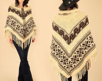 Vintage 60's Wool Poncho Hand Knit Sweater Tribal Fringe Southwestern Hippie Free Size