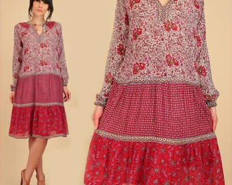 ViNtAgE Indian Cotton Dress 60's 70's Sheer Red Floral India Bohemian Hippie BoHo Festival Small Medium S M