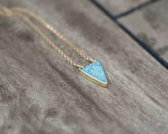 Druzy Triangle Necklace , Aqua Druzy Quartz Gold or Sterling Silver Bezel Pendant Necklace, Boho Layering - Finn