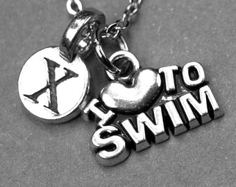 Swimming necklace, I love swimming necklace, I heart swim charm, swimmer jewelry, personalized necklace, initial necklace, initial charm
