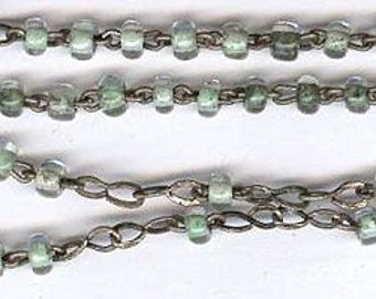 vintage TINY rosary beads no cross sommerso glass beads GREEN and CLEAR antique rosary small and tiny beads