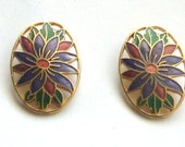 Sale Cloisonne Earrings / Post / Floral Earrings /Vintage 1980s / Gift for Her / retro look/ purple & gold cut outs