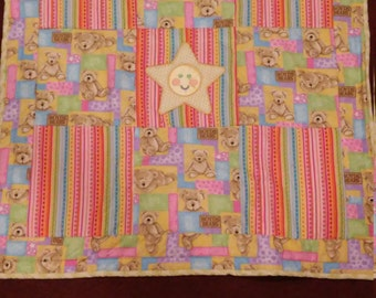Pastel Boyds bears teddy bears star applique baby blanket toddler quilt crib animals flannel REVERSIBLE