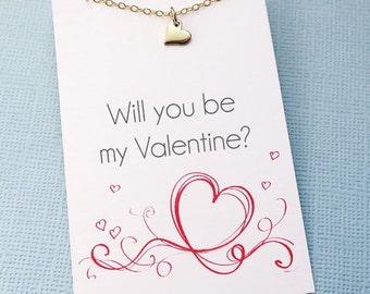 Valentines Gift  | Tiny Heart Necklace, Valentines Gift for Her, Valentines Day Gift, Layering Necklace, Girlfriend Gift, Bestfriend | L07