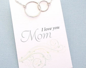 Gift for Mom | Eternity Necklace, Interlocking Circle, New Mom Necklace, Gift for Moms, Gift for Mother, Karma Necklace | M04