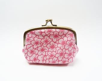 Con purse, pink cherry blossom design, Japanese cotton purse