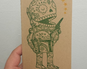 Unmasked Boba Fett Calavera Moleskine Cahier Pocket Notebook Journal Plain