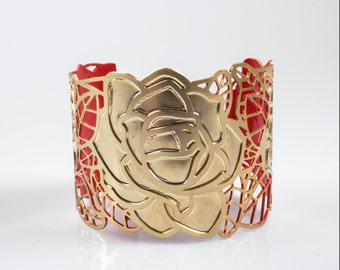 Golden Rose Cuff Bracelet, Gold and Red, Rose Cuff Bracelet, Golden Filigree Cuff, Statement Cuff, Gift for Her, Romantic Gift