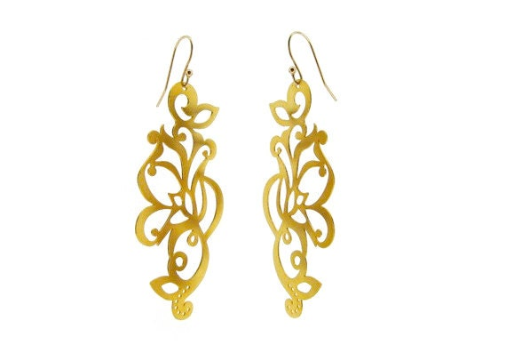 Large Gold Dangle Earrings in Filigree Tattoo Design 14K Gold Plated