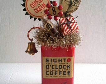 Whimsical Coffee Tin Decoration, Centerpiece, Mercantile Display Tin, General Store, Milk Bottle Cap, Dresden Trim, Tarnished Silver Tinsel
