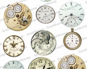 Steampunk Watches watch faces Clocks Digital Collage Sheet gears vintage images download clip art pocketwatch No.143
