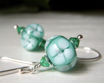 Teal Earrings, Floral Lampwork Earrings Sterling Silver, Artisan Glass Lampwork Dangle, Plumeria Flower Earrings